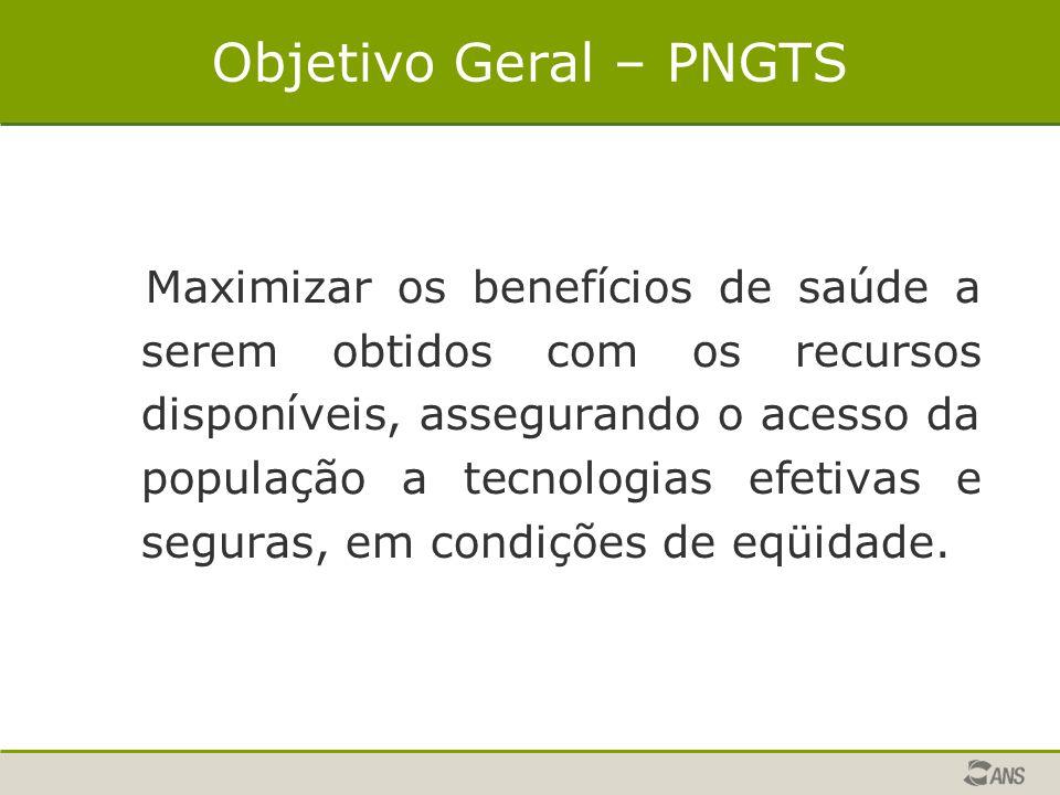 Objetivo Geral – PNGTS Maximizar os benefícios de saúde a serem obtidos com os recursos disponíveis, assegurando o acesso da população a tecnologias e