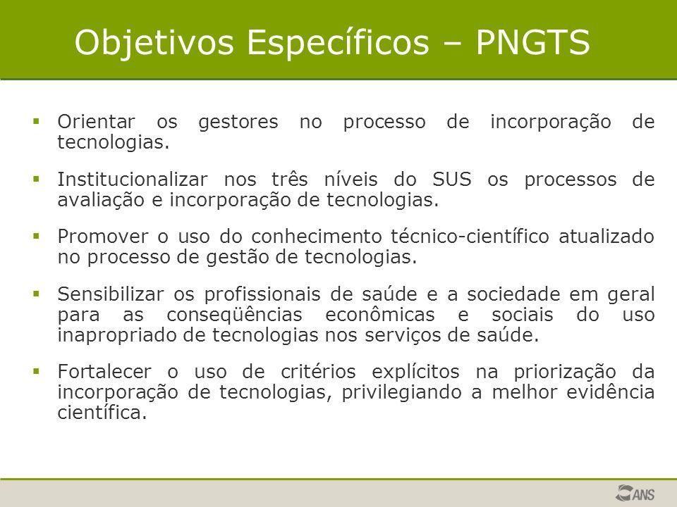 Objetivos Específicos – PNGTS  Orientar os gestores no processo de incorporação de tecnologias.  Institucionalizar nos três níveis do SUS os process