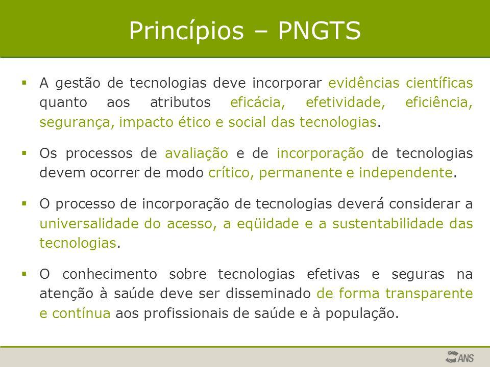 Princípios – PNGTS  A gestão de tecnologias deve incorporar evidências científicas quanto aos atributos eficácia, efetividade, eficiência, segurança,