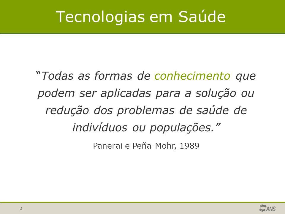 """2 Tecnologias em Saúde """"Todas as formas de conhecimento que podem ser aplicadas para a solução ou redução dos problemas de saúde de indivíduos ou popu"""