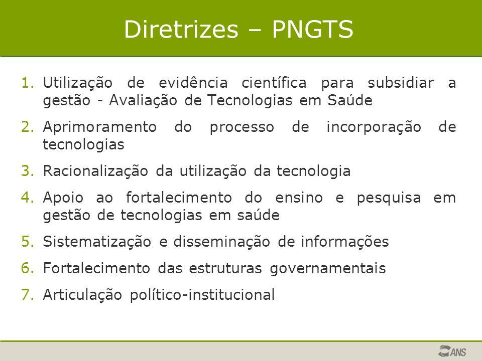 Diretrizes – PNGTS 1.Utilização de evidência científica para subsidiar a gestão - Avaliação de Tecnologias em Saúde 2.Aprimoramento do processo de inc
