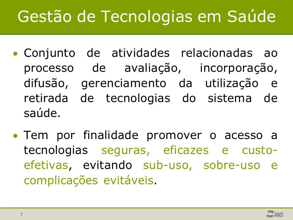 3 Gestão de Tecnologias em Saúde Conjunto de atividades relacionadas ao processo de avaliação, incorporação, difusão, gerenciamento da utilização e r