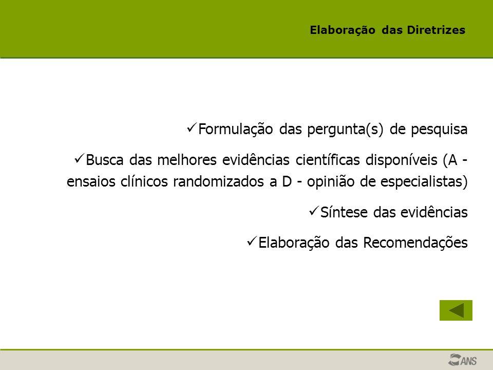 Elaboração das Diretrizes Formulação das pergunta(s) de pesquisa Busca das melhores evidências científicas disponíveis (A - ensaios clínicos randomiza