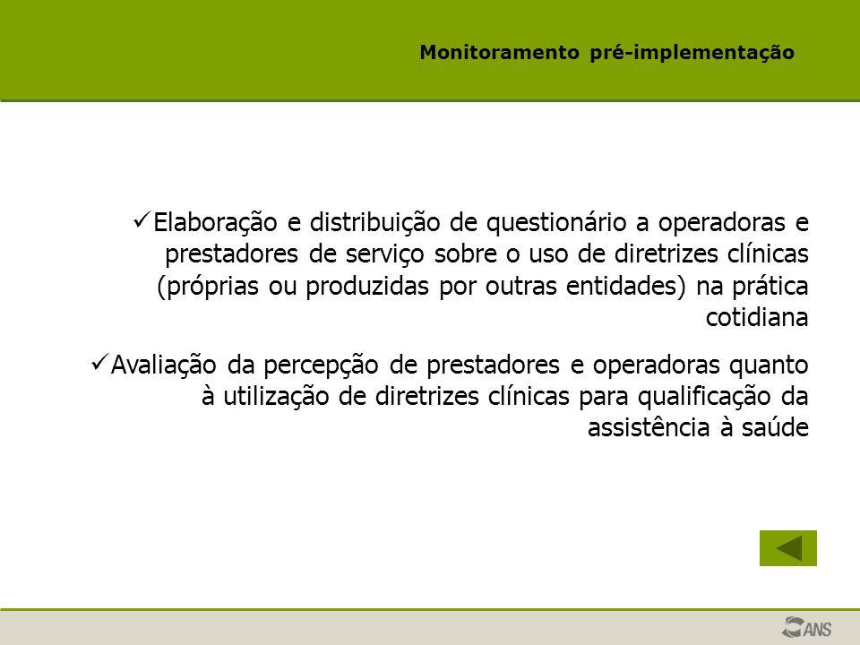 Monitoramento pré-implementação Elaboração e distribuição de questionário a operadoras e prestadores de serviço sobre o uso de diretrizes clínicas (pr