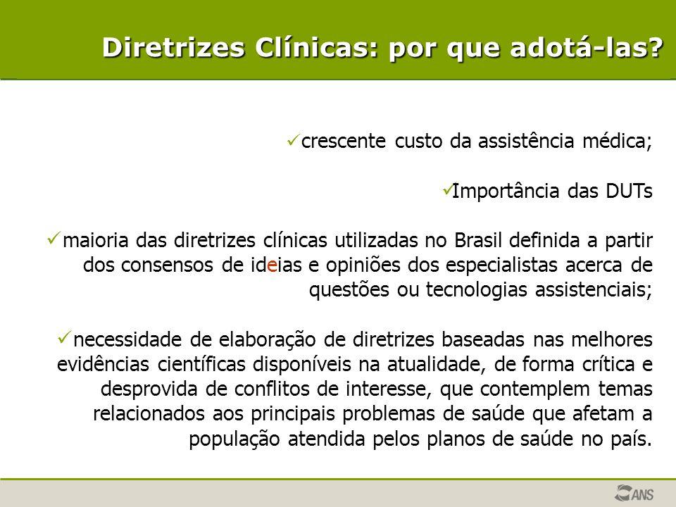 crescente custo da assistência médica; Importância das DUTs maioria das diretrizes clínicas utilizadas no Brasil definida a partir dos consensos de id