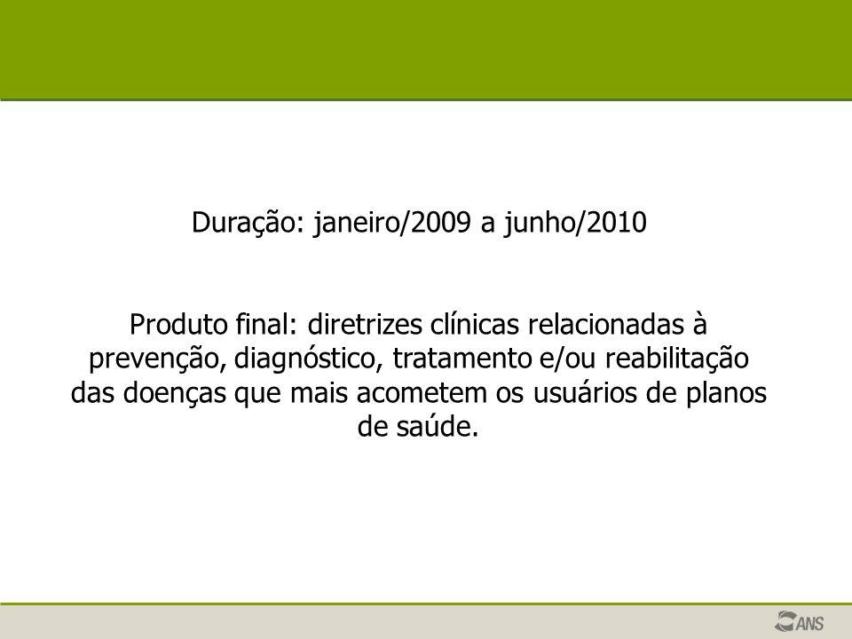 Duração: janeiro/2009 a junho/2010 Produto final: diretrizes clínicas relacionadas à prevenção, diagnóstico, tratamento e/ou reabilitação das doenças