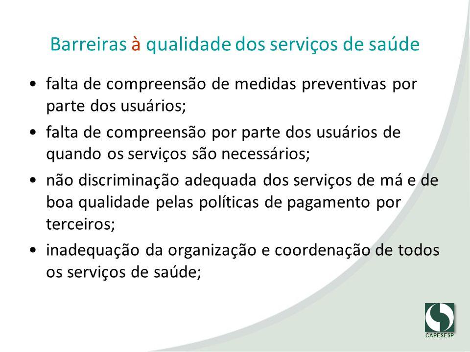 CAPESESP Barreiras à qualidade dos serviços de saúde falta de compreensão de medidas preventivas por parte dos usuários; falta de compreensão por part