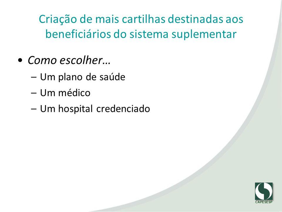 CAPESESP Criação de mais cartilhas destinadas aos beneficiários do sistema suplementar Como escolher… –Um plano de saúde –Um médico –Um hospital crede