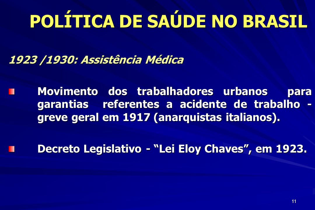 11 POLÍTICA DE SAÚDE NO BRASIL POLÍTICA DE SAÚDE NO BRASIL 1923 /1930: Assistência Médica Movimento dos trabalhadores urbanos para garantias referente