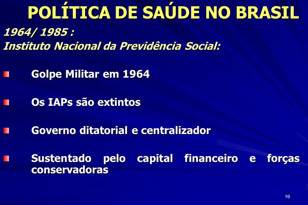 16 1964/ 1985 : Instituto Nacional da Previdência Social: Golpe Militar em 1964 Os IAPs são extintos Governo ditatorial e centralizador Sustentado pel