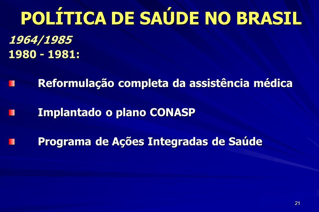 21 1964/1985 1980 - 1981: Reformulação completa da assistência médica Implantado o plano CONASP Programa de Ações Integradas de Saúde POLÍTICA DE SAÚD