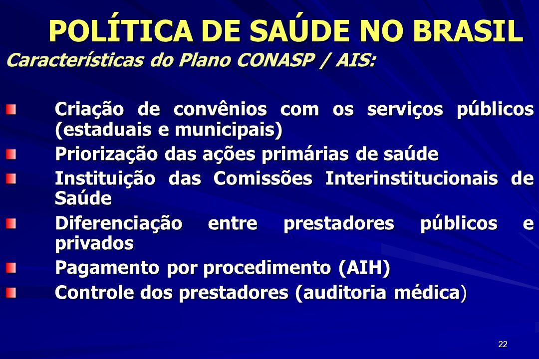 22 Características do Plano CONASP / AIS: Criação de convênios com os serviços públicos (estaduais e municipais) Priorização das ações primárias de sa