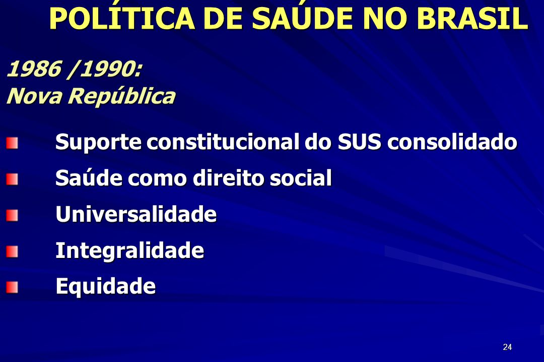 24 1986 /1990: Nova República Suporte constitucional do SUS consolidado Saúde como direito social UniversalidadeIntegralidadeEquidade POLÍTICA DE SAÚD
