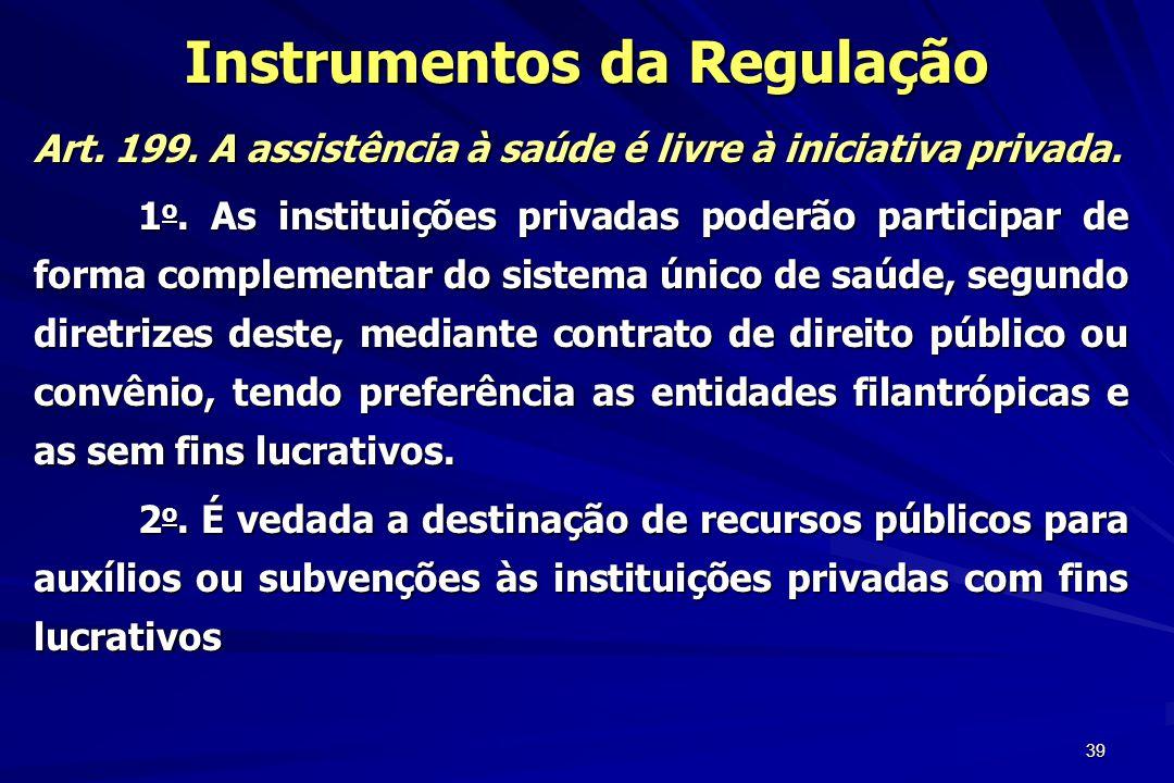 39 Instrumentos da Regulação Art. 199. A assistência à saúde é livre à iniciativa privada. 1 o. As instituições privadas poderão participar de forma c
