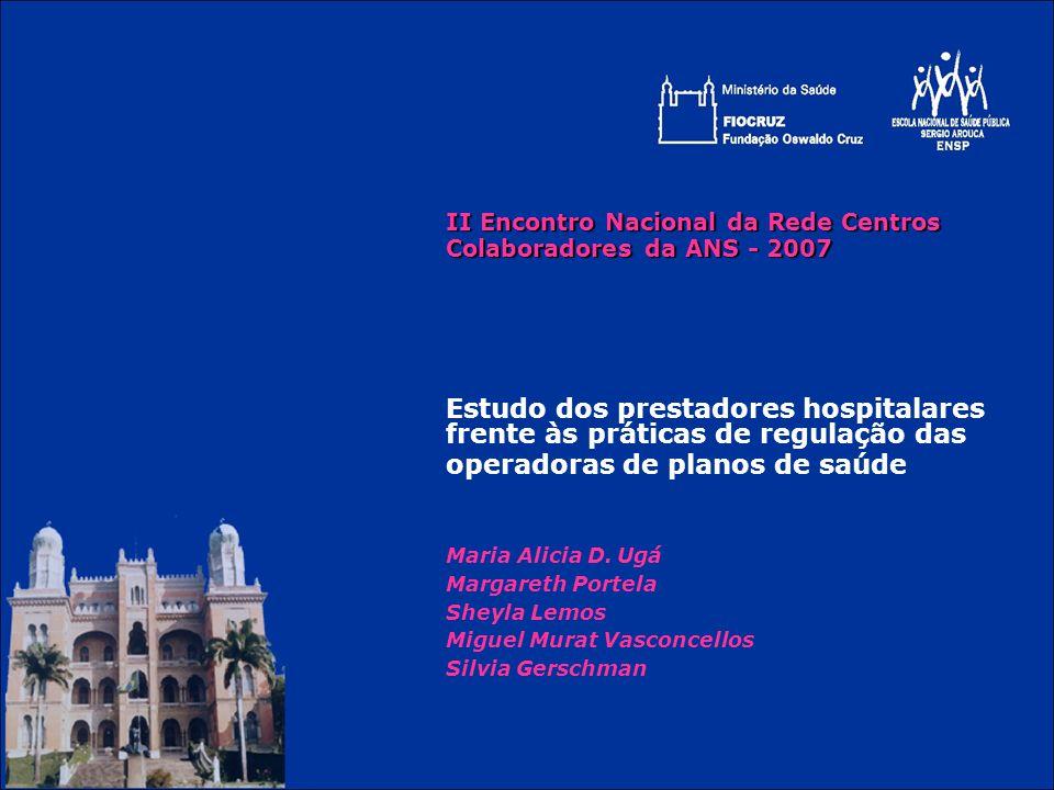 II Encontro Nacional da Rede Centros Colaboradores da ANS - 2007 Estudo dos prestadores hospitalares frente às práticas de regulação das operadoras de