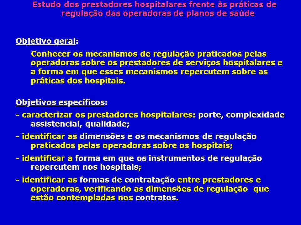 Estudo dos prestadores hospitalares frente às práticas de regulação das operadoras de planos de saúde Estudo dos prestadores hospitalares frente às pr