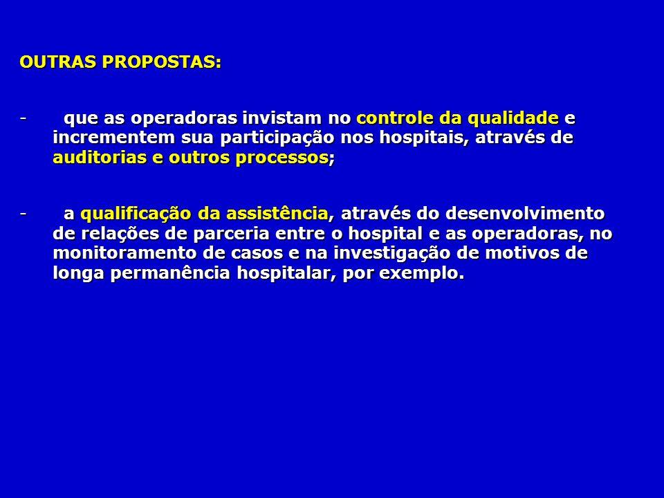 OUTRAS PROPOSTAS: - que as operadoras invistam no controle da qualidade e incrementem sua participação nos hospitais, através de auditorias e outros p