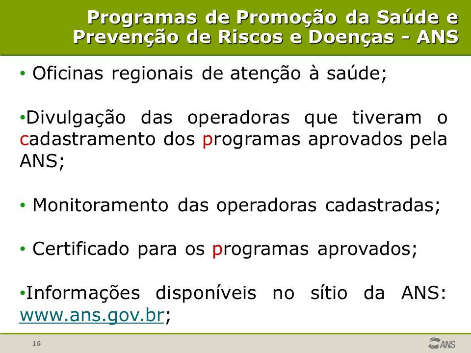 16 Oficinas regionais de atenção à saúde; Divulgação das operadoras que tiveram o cadastramento dos programas aprovados pela ANS; Monitoramento das op