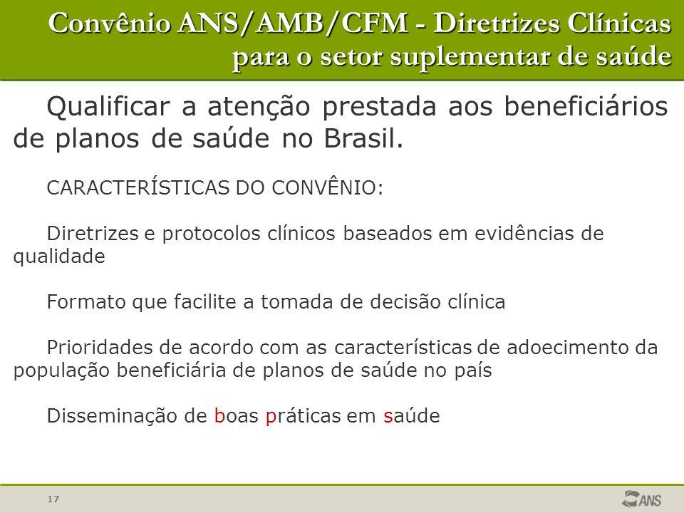 17 Convênio ANS/AMB/CFM - Diretrizes Clínicas para o setor suplementar de saúde Qualificar a atenção prestada aos beneficiários de planos de saúde no