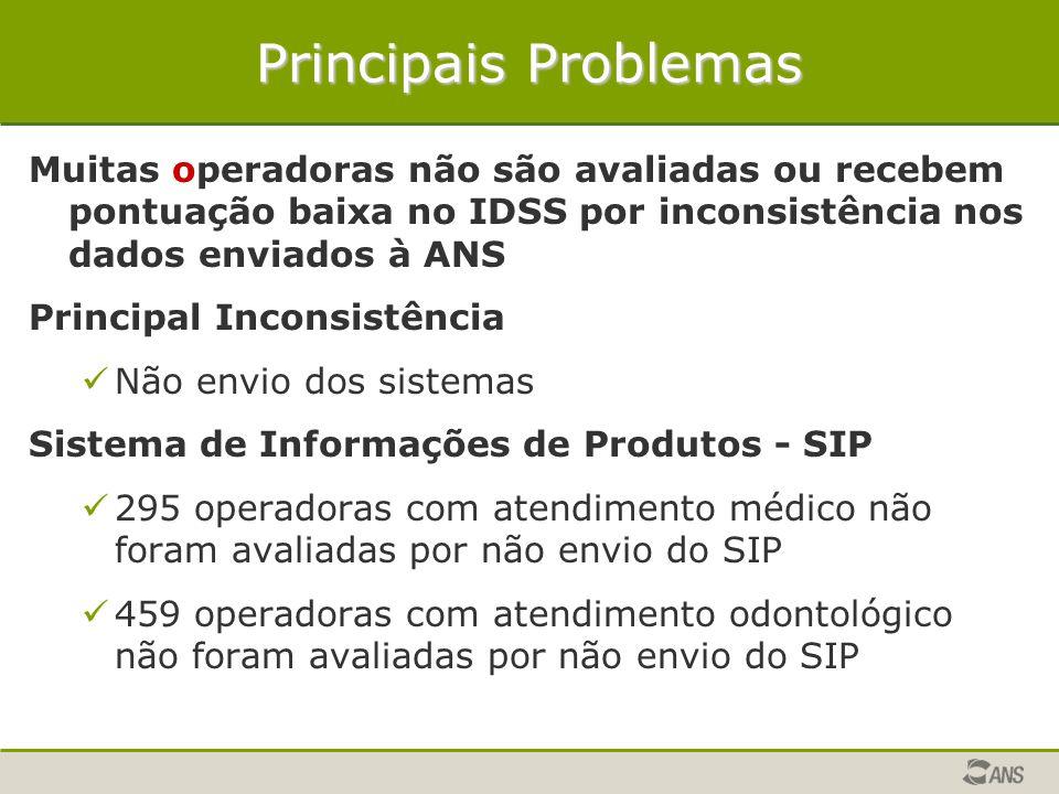 Principais Problemas Muitas operadoras não são avaliadas ou recebem pontuação baixa no IDSS por inconsistência nos dados enviados à ANS Principal Inco