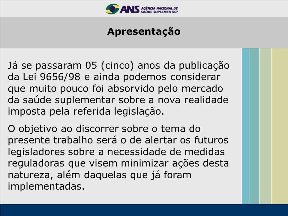 Concluindo, espero que este trabalho possa contribuir com a ANS que, como órgão regulador, caberá intervir nas ações do mercado visando a sua estabilidade e equilíbrio, com a principal preocupação da busca de uma prestação de serviços de assistência á saúde de qualidade e de preços acessíveis aos consumidores brasileiros.