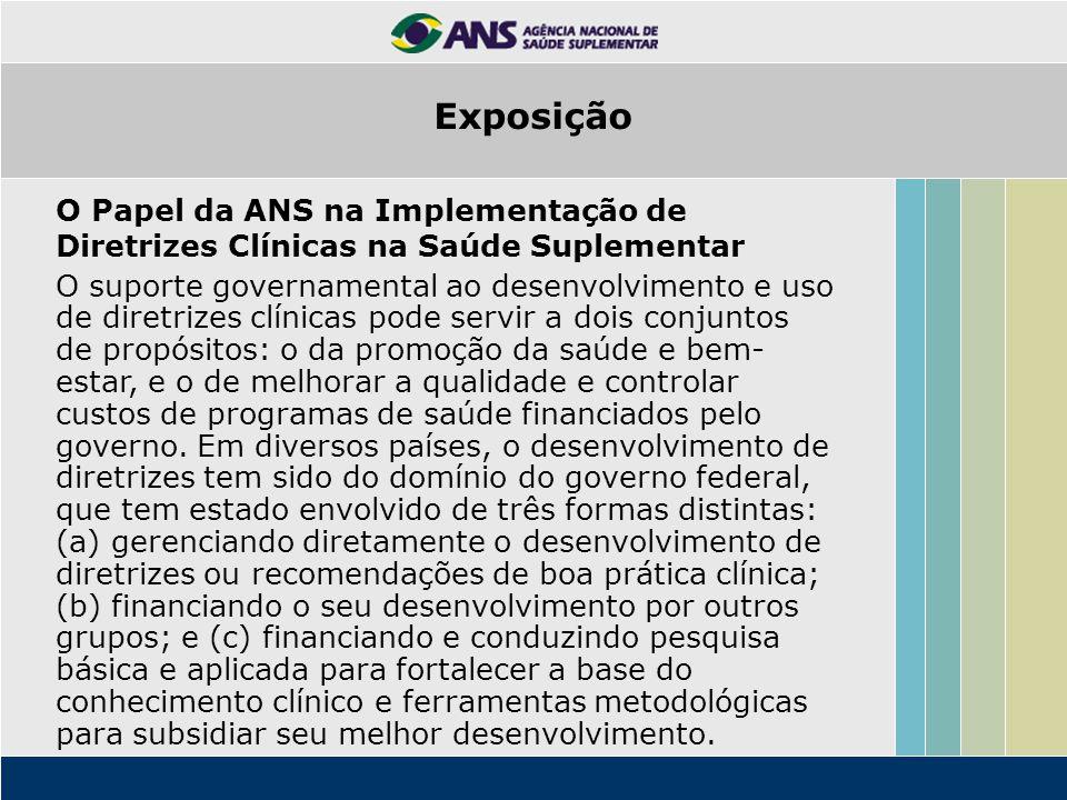 O Papel da ANS na Implementação de Diretrizes Clínicas na Saúde Suplementar O suporte governamental ao desenvolvimento e uso de diretrizes clínicas po
