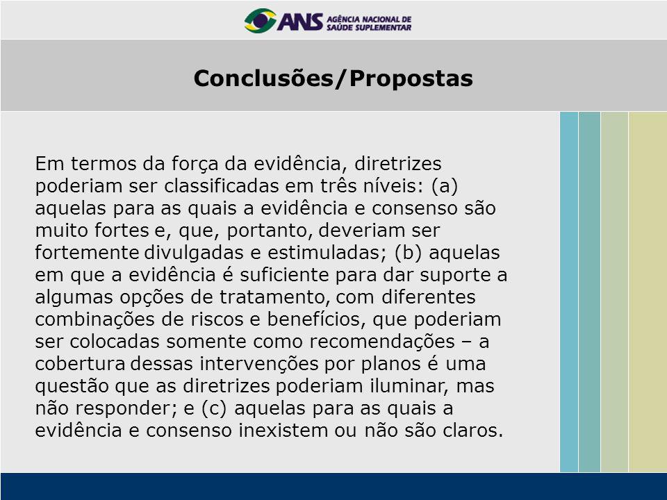 Em termos da força da evidência, diretrizes poderiam ser classificadas em três níveis: (a) aquelas para as quais a evidência e consenso são muito fort