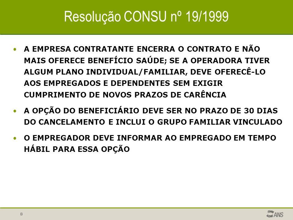 8 Resolução CONSU nº 19/1999 A EMPRESA CONTRATANTE ENCERRA O CONTRATO E NÃO MAIS OFERECE BENEFÍCIO SAÚDE; SE A OPERADORA TIVER ALGUM PLANO INDIVIDUAL/FAMILIAR, DEVE OFERECÊ-LO AOS EMPREGADOS E DEPENDENTES SEM EXIGIR CUMPRIMENTO DE NOVOS PRAZOS DE CARÊNCIA A OPÇÃO DO BENEFICIÁRIO DEVE SER NO PRAZO DE 30 DIAS DO CANCELAMENTO E INCLUI O GRUPO FAMILIAR VINCULADO O EMPREGADOR DEVE INFORMAR AO EMPREGADO EM TEMPO HÁBIL PARA ESSA OPÇÃO