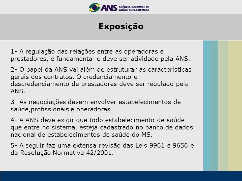 1- A regulação das relações entre as operadoras e prestadores, é fundamental e deve ser atividade pela ANS. 2- O papel da ANS vai além de estruturar a