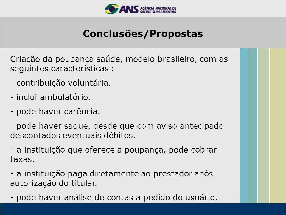 Criação da poupança saúde, modelo brasileiro, com as seguintes características : - contribuição voluntária.