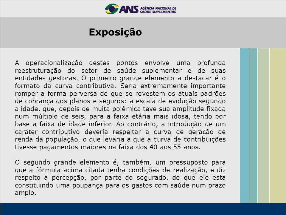 Exposição A operacionalização destes pontos envolve uma profunda reestruturação do setor de saúde suplementar e de suas entidades gestoras.