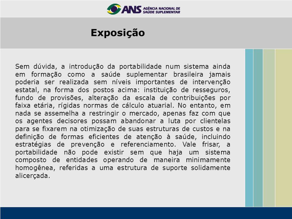 Exposição Sem dúvida, a introdução da portabilidade num sistema ainda em formação como a saúde suplementar brasileira jamais poderia ser realizada sem