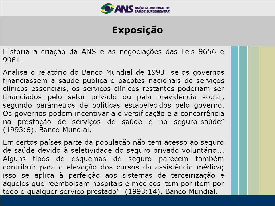Historia a criação da ANS e as negociações das Leis 9656 e 9961. Analisa o relatório do Banco Mundial de 1993: se os governos financiassem a saúde púb
