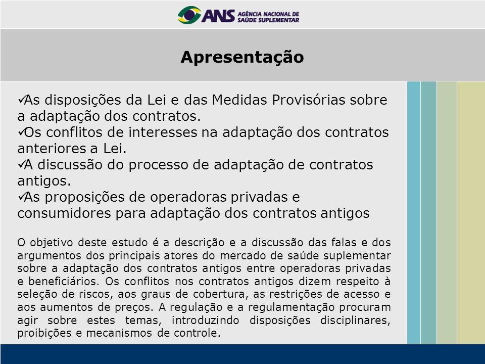 Apresentação As disposições da Lei e das Medidas Provisórias sobre a adaptação dos contratos. Os conflitos de interesses na adaptação dos contratos an