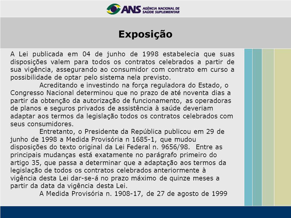 Exposição A Lei publicada em 04 de junho de 1998 estabelecia que suas disposições valem para todos os contratos celebrados a partir de sua vigência, a