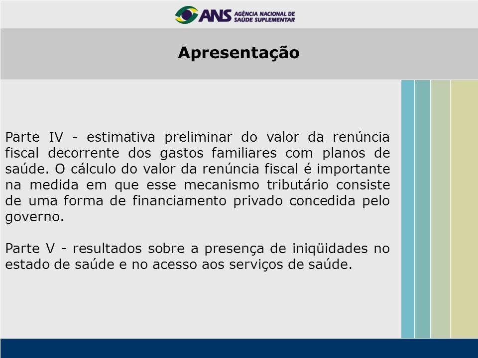 Parte IV - estimativa preliminar do valor da renúncia fiscal decorrente dos gastos familiares com planos de saúde. O cálculo do valor da renúncia fisc