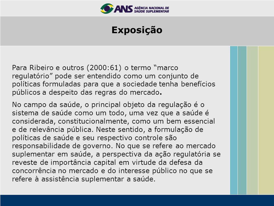 """Para Ribeiro e outros (2000:61) o termo """"marco regulatório"""" pode ser entendido como um conjunto de políticas formuladas para que a sociedade tenha ben"""