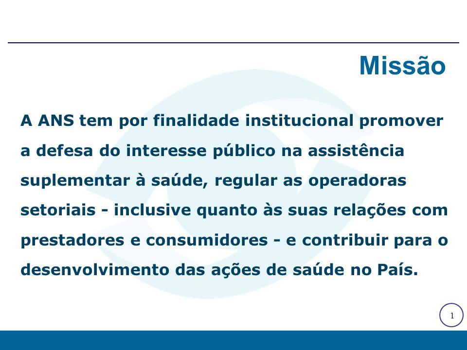 1 A ANS tem por finalidade institucional promover a defesa do interesse público na assistência suplementar à saúde, regular as operadoras setoriais -