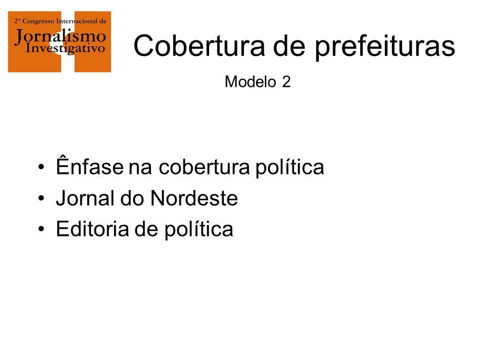 Cobertura de prefeituras Modelo 2 Ênfase na cobertura política Jornal do Nordeste Editoria de política