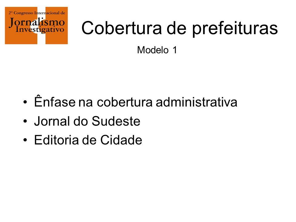Cobertura de prefeituras Modelo 1 Ênfase na cobertura administrativa Jornal do Sudeste Editoria de Cidade