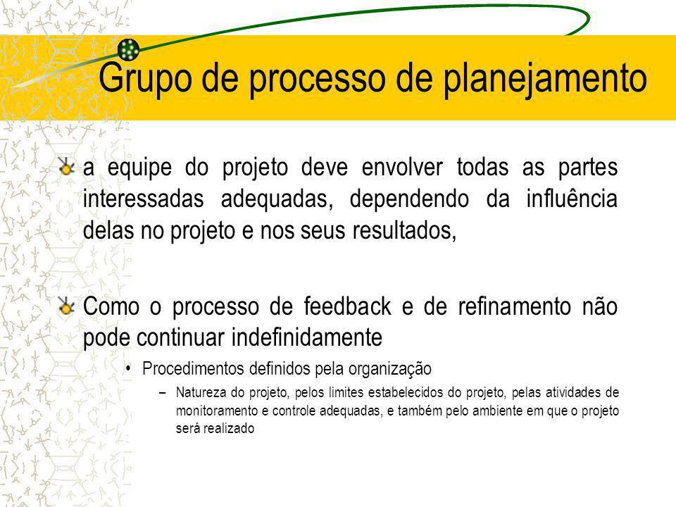 Grupo de processo de planejamento a equipe do projeto deve envolver todas as partes interessadas adequadas, dependendo da influência delas no projeto