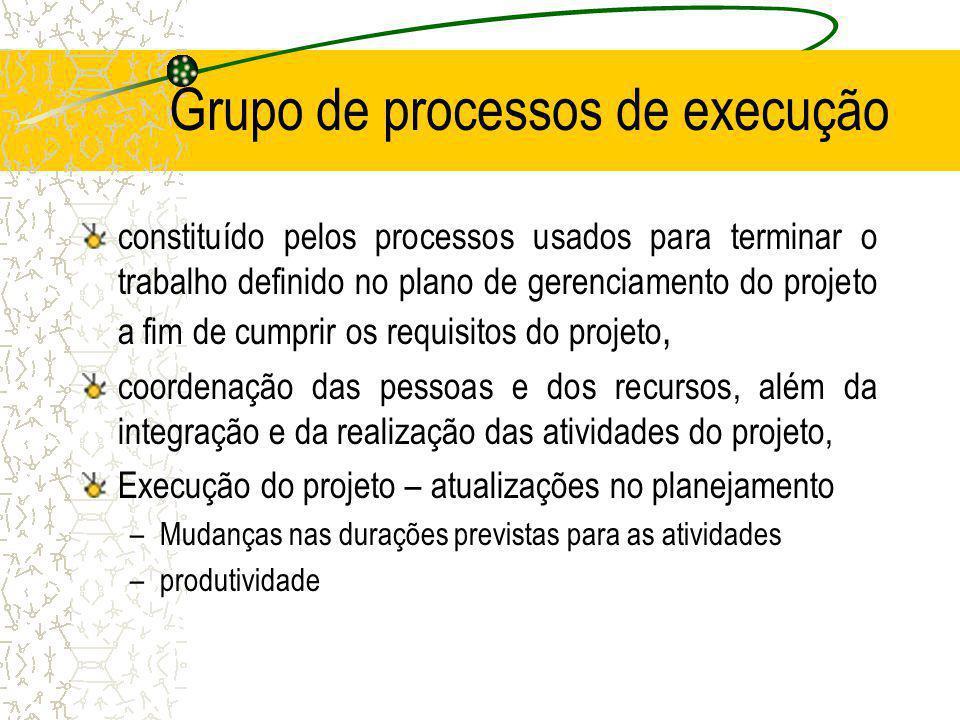 Grupo de processos de execução constituído pelos processos usados para terminar o trabalho definido no plano de gerenciamento do projeto a fim de cump