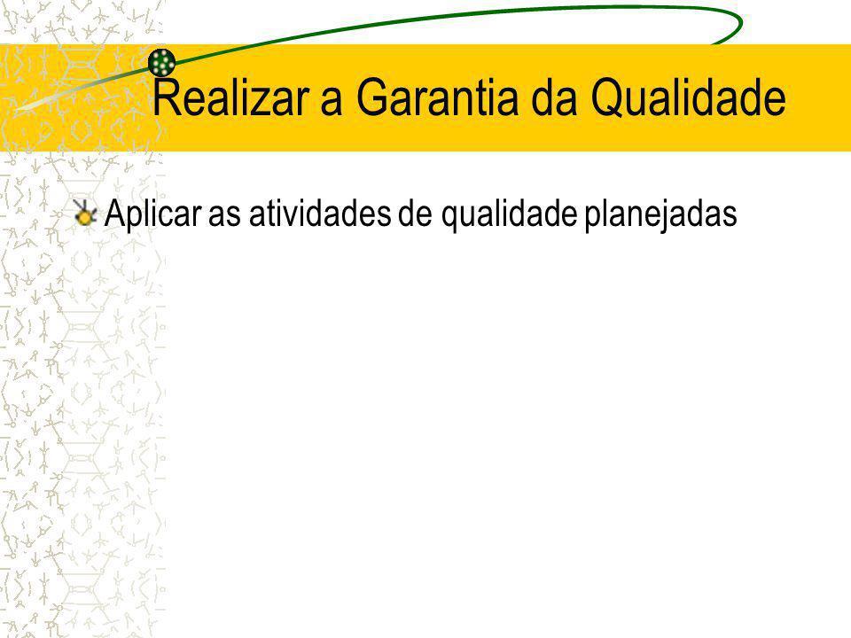 Realizar a Garantia da Qualidade Aplicar as atividades de qualidade planejadas