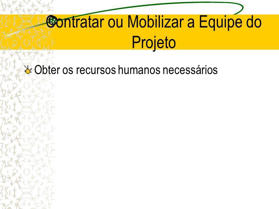 Contratar ou Mobilizar a Equipe do Projeto Obter os recursos humanos necessários