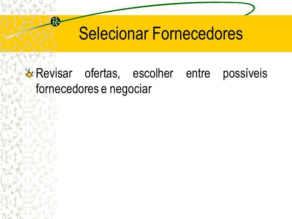 Selecionar Fornecedores Revisar ofertas, escolher entre possíveis fornecedores e negociar