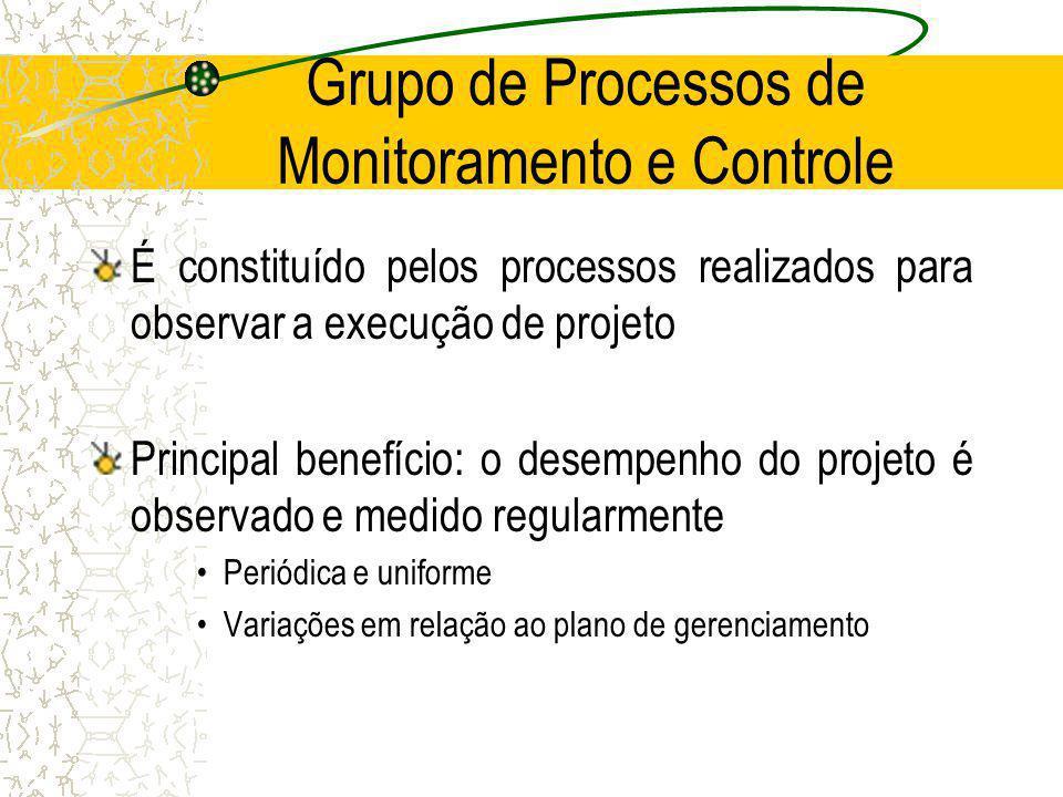 Grupo de Processos de Monitoramento e Controle É constituído pelos processos realizados para observar a execução de projeto Principal benefício: o des