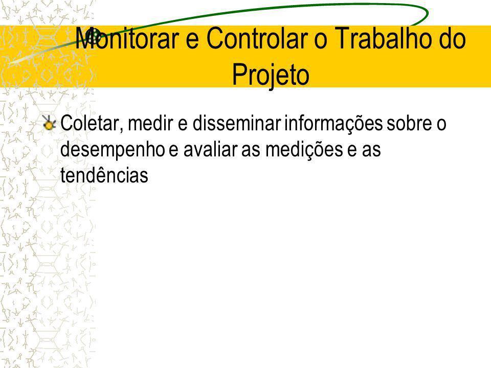 Monitorar e Controlar o Trabalho do Projeto Coletar, medir e disseminar informações sobre o desempenho e avaliar as medições e as tendências