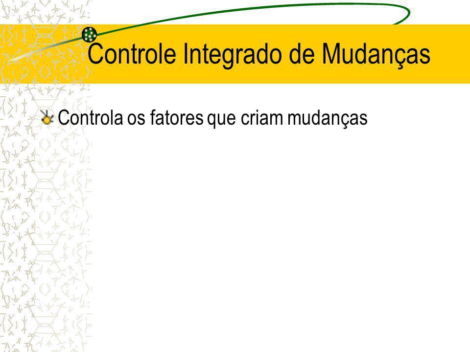 Controle Integrado de Mudanças Controla os fatores que criam mudanças