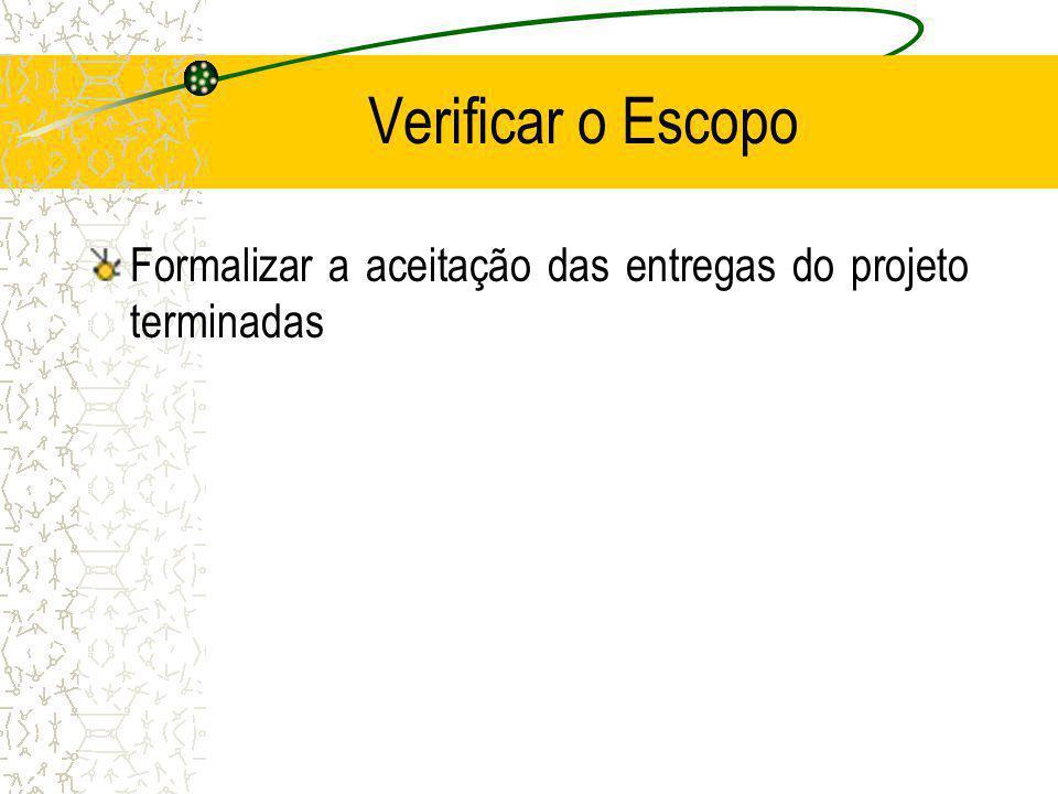 Verificar o Escopo Formalizar a aceitação das entregas do projeto terminadas