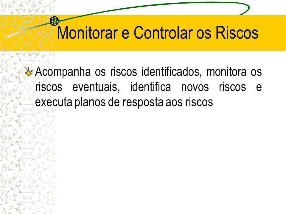 Monitorar e Controlar os Riscos Acompanha os riscos identificados, monitora os riscos eventuais, identifica novos riscos e executa planos de resposta